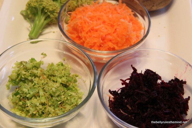 Grated Veggies for Little Heart Veggie Biscuits