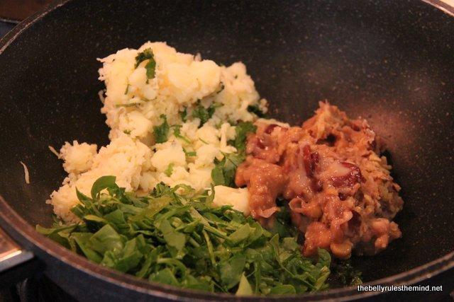 spinach potato and bean paste