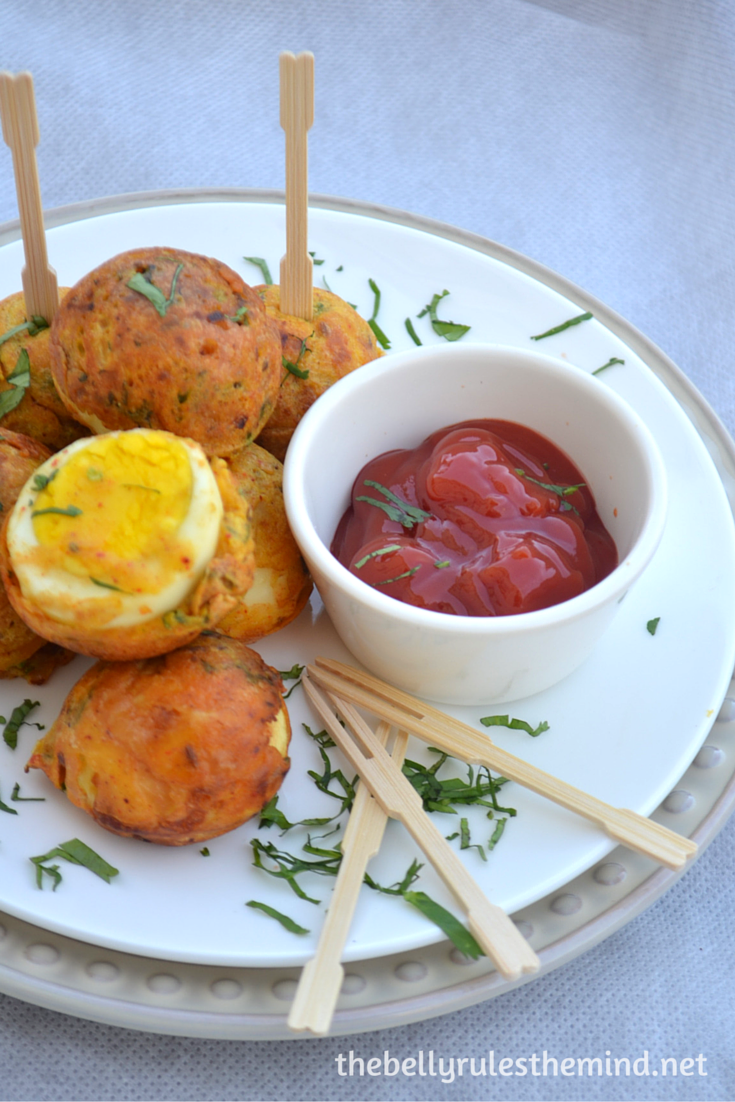 Egg pakoda-fritters ( made in appe pan)