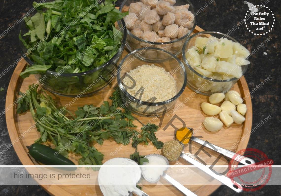 ingredients for garlicky spinach soya patties