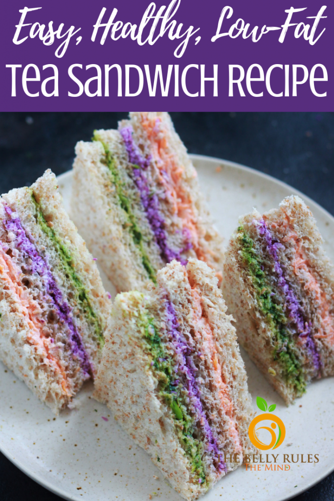 A sandwich recipe that is perfect for tea parties, snack time or even lunchboxes. Packed with the goodness of colorful veggies, and strained yogurt these pretty delicious bites are sure to impress everyone. #teasandwichrecipe #teasandwich #fingersandwich #sandwichrecipe #lunchboxrecipe #backtoschool #lunchboxrecipe #lunchboxidea #vegetariansandwich #sandwiches #rainbowfood #schoollunch