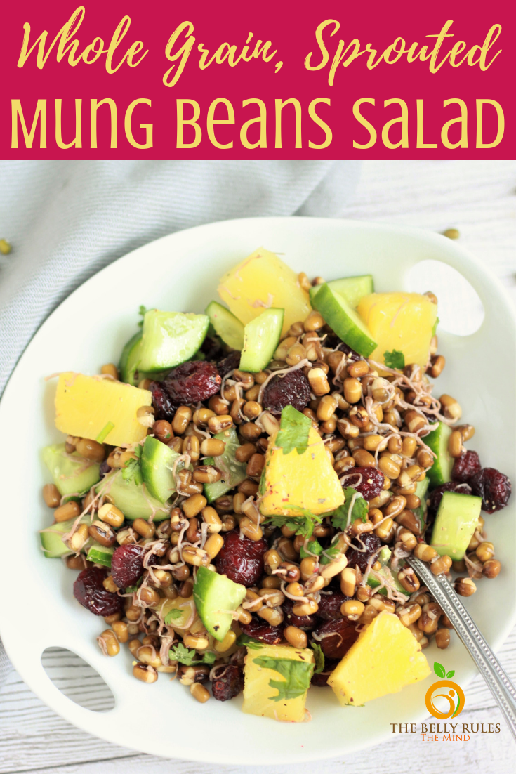 This Sprouted Mung Beans Salad is one of the best ways to enjoy sprouted mung beans. It's packed with nutrition, flavors and textures. No fancy ingredients and comes together easily. If you are looking to relish some plant based protein, this salad is your go to-recipe. It's sure to tantalize your tastebuds. #sproutedmungbeans #mungbeans #mungbeanssalad #howtocookmungbeans #mungbeansprouts #mungbeansrecipe