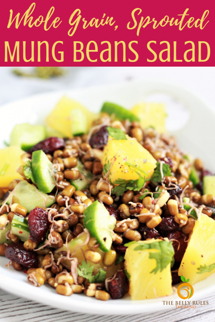 This Mung Beans Salad is one of the best ways to enjoy sprouted mung beans. It's packed with nutrition, flavors and textures. No fancy ingredients and comes together easily. If you are looking to relish some plant based protein, this salad is your go to-recipe. It's sure to tantalize your tastebuds. #mungbeans #mungbeansrecipe #mungbeanssalad #saladrecipe #vegansalad #plantbasedprotein #sproutedmungbeans