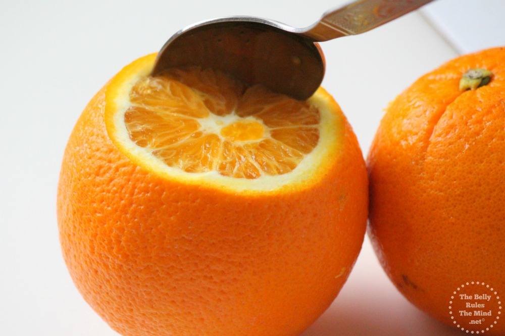 Peel and scoop out the orange