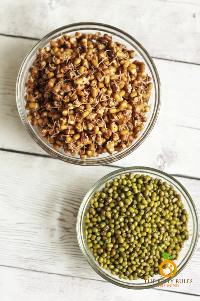 a bowl of dry green mung beans and sprouted steamed mung beans