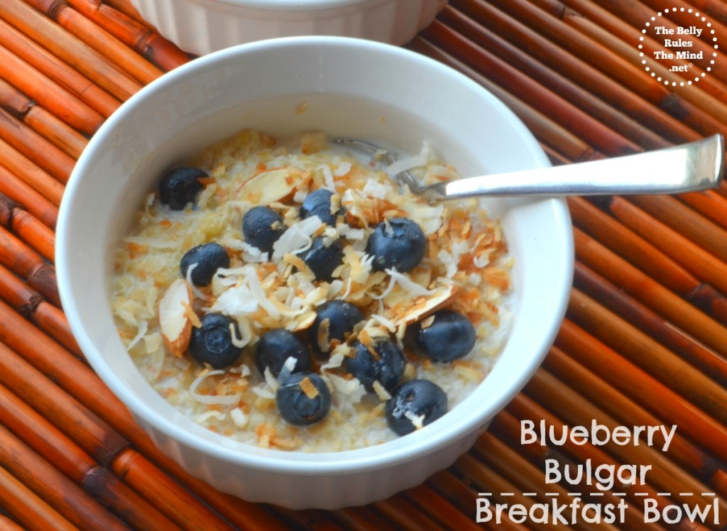 Blueberry bulgar breakfast bowl
