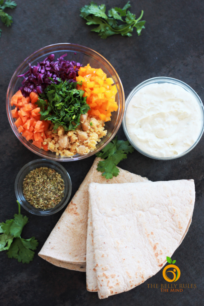 ingredients to make a tortilla roll up