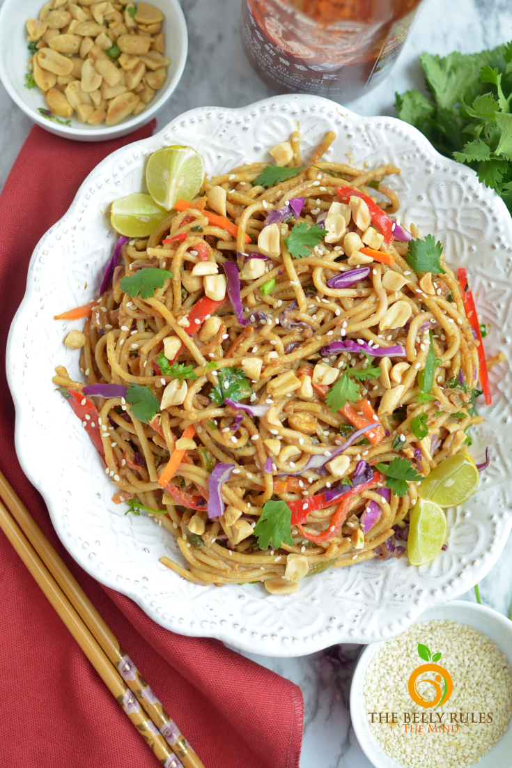 10 minute instant pot spicy Thai noodle bow;