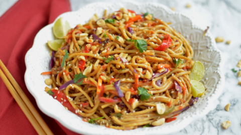 instant pot 10 minute spicy Thai noodle bowl