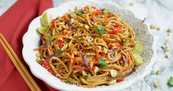 instant pot 10 minute spicy Thai noodle bowl