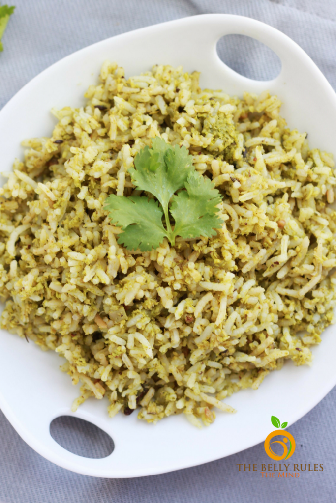Coconut Rice with Cilantro in a plate