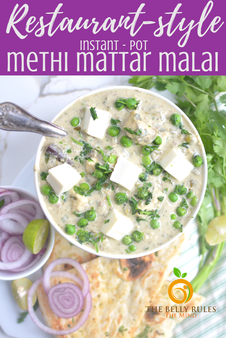 Methi Matar Malai Paneer is a scrumptious North Indian recipe that you can prepare for your family and friends. #methimatarmalai #instantpot #instantpotrecipes