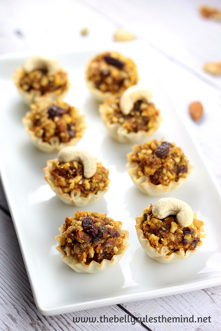 dry fruit gujiya baked fillo cups