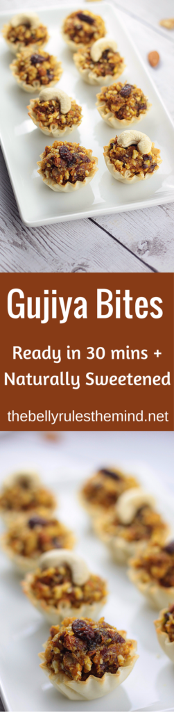 These delicious & perfectly individually sized Gujiya bites are stuffed with dried fruits and nuts and are naturally sweetened. Yes no sugar added and loaded with good fat. Don't worry the good fat won't make you fat, when consumed in moderation | www.thebellyrulesthemind.net