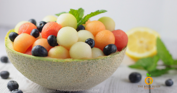 Melon Ball Salad with Lemon Mint Dressing (Raw + Vegan)