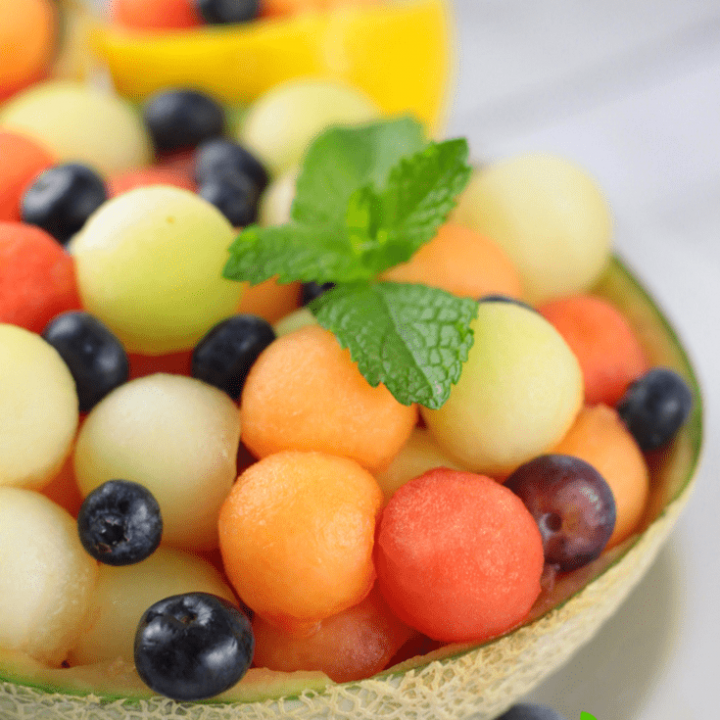 Melon Ball Salad with Lemon Mint Dressing