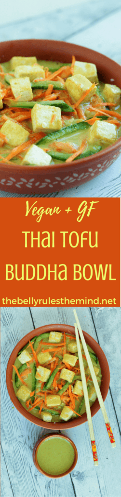 This Thai Tofu Buddha Bowl is super easy to put together and is full of flavors. Perfect weeknight dinner in 15 minutes to tantalize your taste buds. Vegan. Gluten-Free |https;//www.thebellyrulestheind.net @bellyrulesdmind