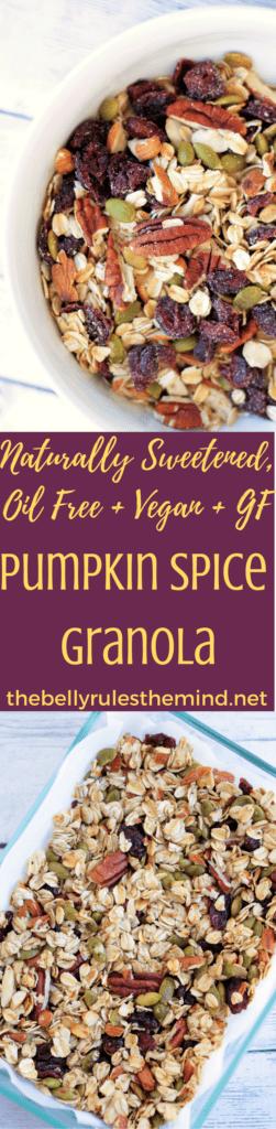 Easiest ever Pumpkin Spice Granola, reader in 30 minutes. Healthy +Kid Friendly + Naturally sweetened + Oil Free + Vegan + Gluten Free. |www.thebellyrulesthemind.net @bellyrulesdmind #vegan, #glutenfree, #kidfriendly, #pumpkinspice, #granola, #fall, #healthy , #kidfriendly, #breakfast, #healthy, Naturallysweetened, #oilfree