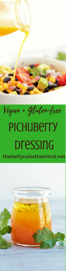 You are going to love this Black Bean Corn Salad recipe with Pichuberry Dressing. It's quick & easy and can be enjoyed as is, or serve it as a party appetizer or even makes a perfect lunch or dinner option. Vegan. Gluten-Free.|https://www.thebellyrulesthemind.net #PichuberrySuperfruit #Pmedia #pichuberry #salad #dressing #recipe