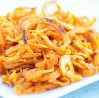 Sweet Potato Curly Fries Vegan Gluten-Free Spiralized