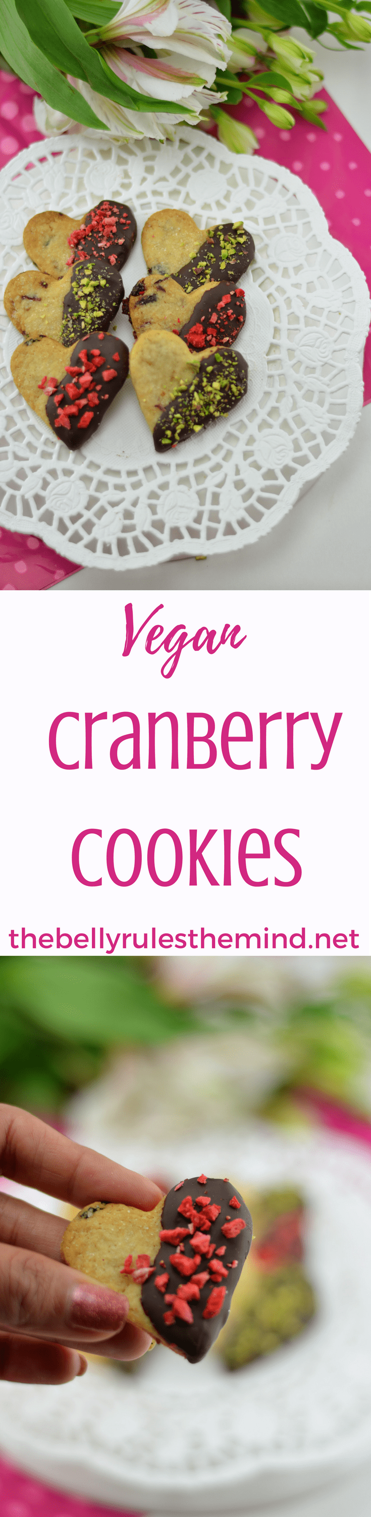 Vegan Cranberry Cookies are brimming with delicious melt-in-your-mouth flavors. Dress them up with some sugar or keep them pure and simple. Absolutely addictive.- They're easier to make than you might think! Yet another Valentine's Day and yet another way to let your loved ones know about how much you care.Vegan.|https;//www.thebellyrulestheind.net @bellyrulesdmind