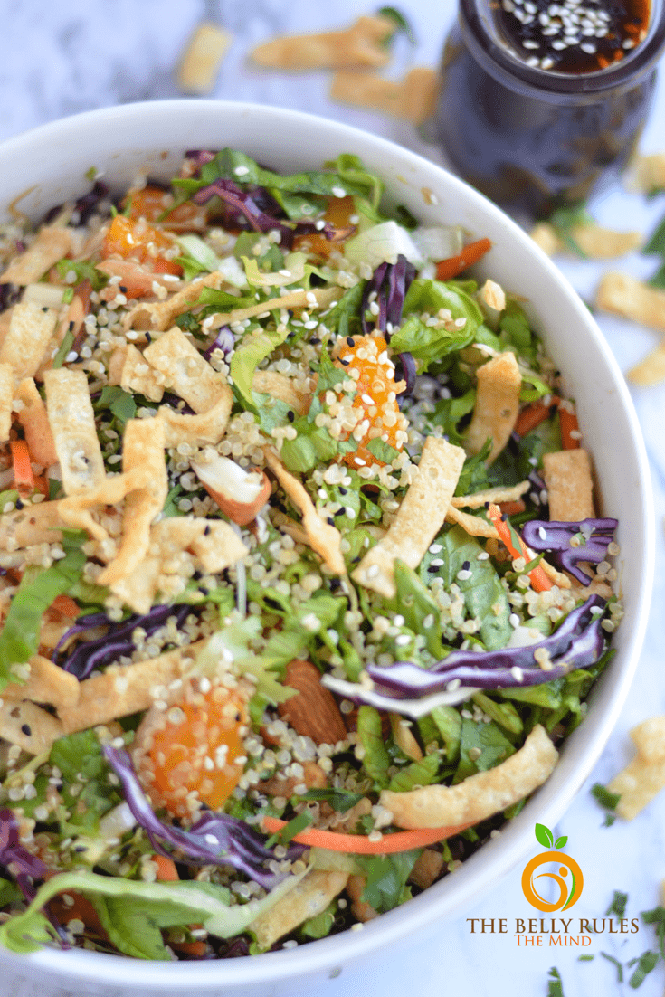 Asian Quinoa Salad with sesame Ginger-Garlic Dressing