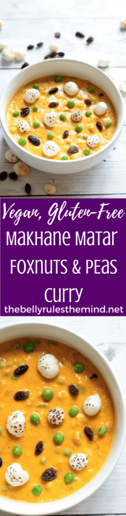 A delicious curry traditionally made with Makhane / Foxnuts & Peas in a tomato and onion gravy loaded with milk fats.A healthier twist on the Makhane Matar. Vegan.Gluten-Free. @bellyruelsdmind Https://www.thebellyrulesthemind.net #recipe #vegan #glutenfree #dinner #lunch #entree #indianfood #curry #peas #foxnuts #makhane #makhana #matar #tbrtm #lotusnuts #gorgonnuts