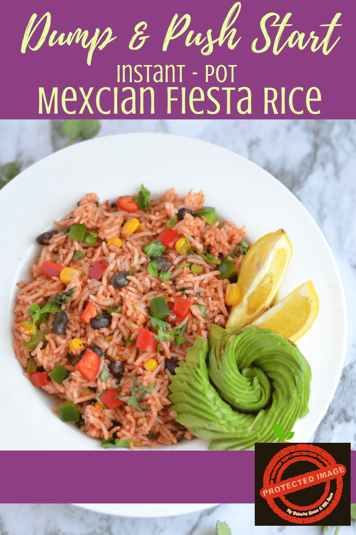 Instant pot Mexican Fiesta Rice - If you're looking for a super quick, simple, and delicious Mexican Rice recipe — you've come to the right place. Simple and easy weeknight dinner for the family. The bonus of this recipe is that it's a one-pot dish. That means a whole lot less clean-up is involved :) An easy versatile vegetarian dish. This fiesta rice is another DUMP and PUSH START Instant Pot recipe.