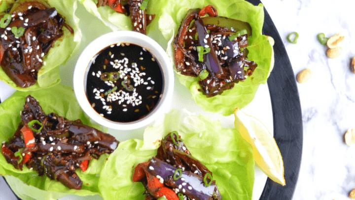 lettuce wraps , eggplant stir fry