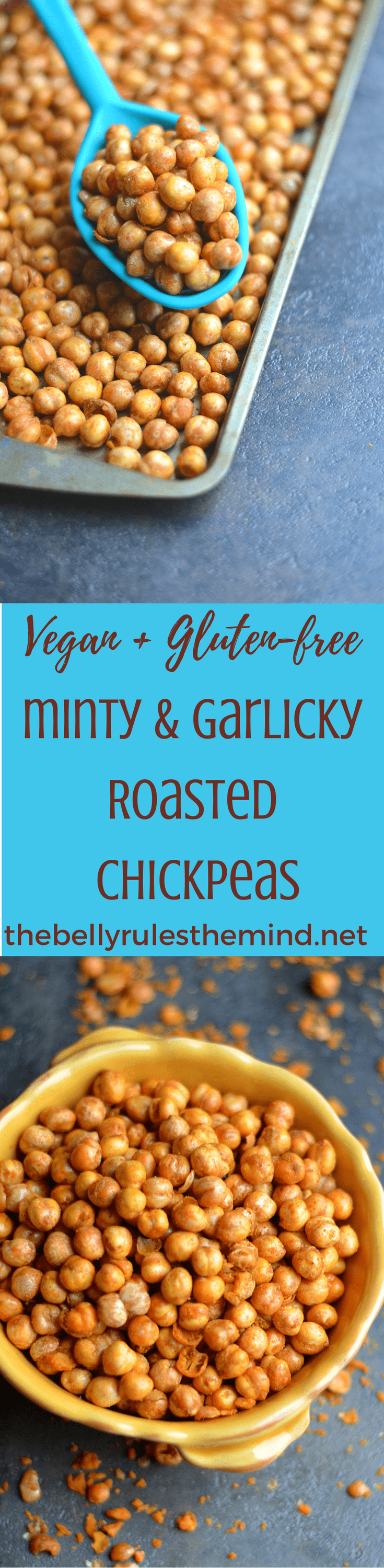 Minty & Garlicky Roasted Chickpeas-If you're looking for a healthy snack to satisfy that mid-day, salty, crunchy craving, then these Minty & Garlicky Roasted Chickpeas are the go-torecipe!.Vegan.|https://www.thebellyrulestheind.net @bellyrulesdmind