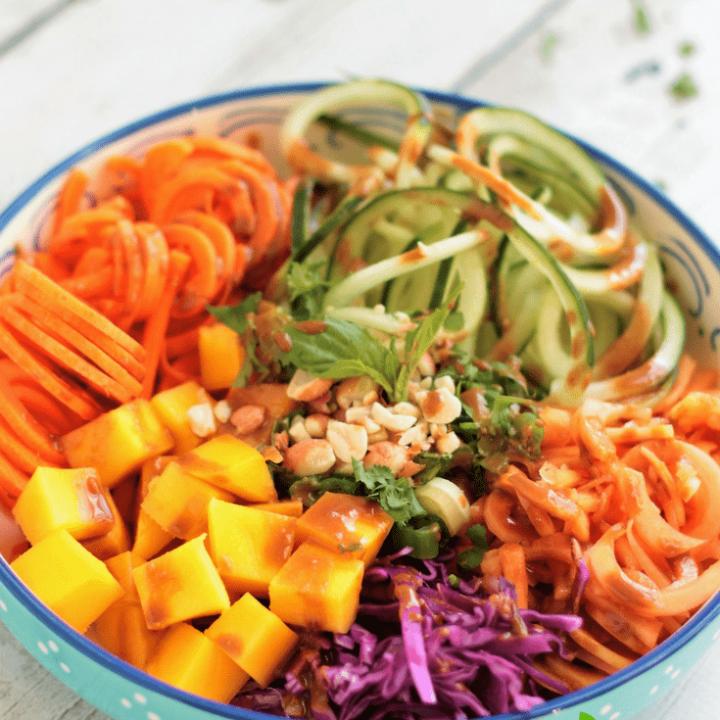 Rainbow Thai Spiralized Salad with Mango & Papaya & Vegetable Noodles