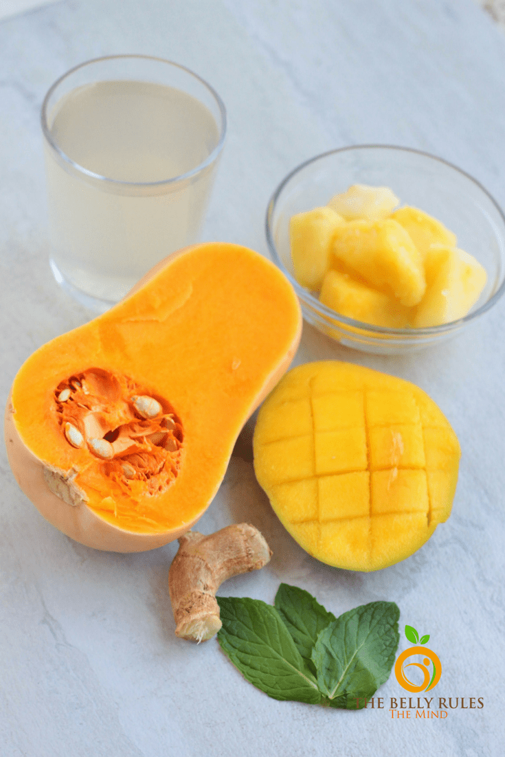 A Vegan Tropical Butternut Squash Smoothie loaded with fruits and vegetables yes, please!!! Healthy.Immune Boosting. Low-Fat. Vegan. Gluten-Free. Dairy -Free. Nut-Free. Sugar-Free. Delicious. Kid-friendly.