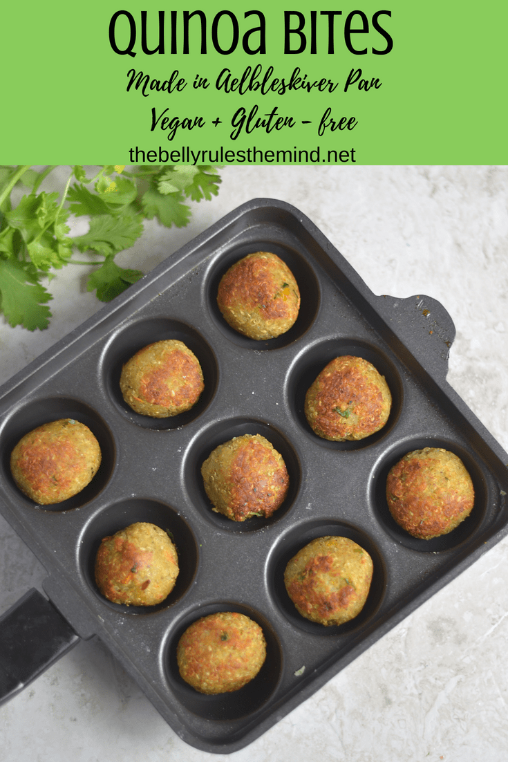 These dip-worthy bites are pan-fried instead of deep-fried, hand rolled and cooked in Aebleskiver pan aka Appe pan . These Quinoa bites are delicious on top of a salad, or just as finger food for your next get together. The quinoa is blended perfectly with a white bean (in this case, cannellini beans) to make these bites a perfectly filling and feel good food! Aebleskiver pan provides an excellent way to cut down the calories by pan-frying the contents instead of deep frying thus reducing the guilt of having deep fried food. It tastes as good as the deep fried stuff