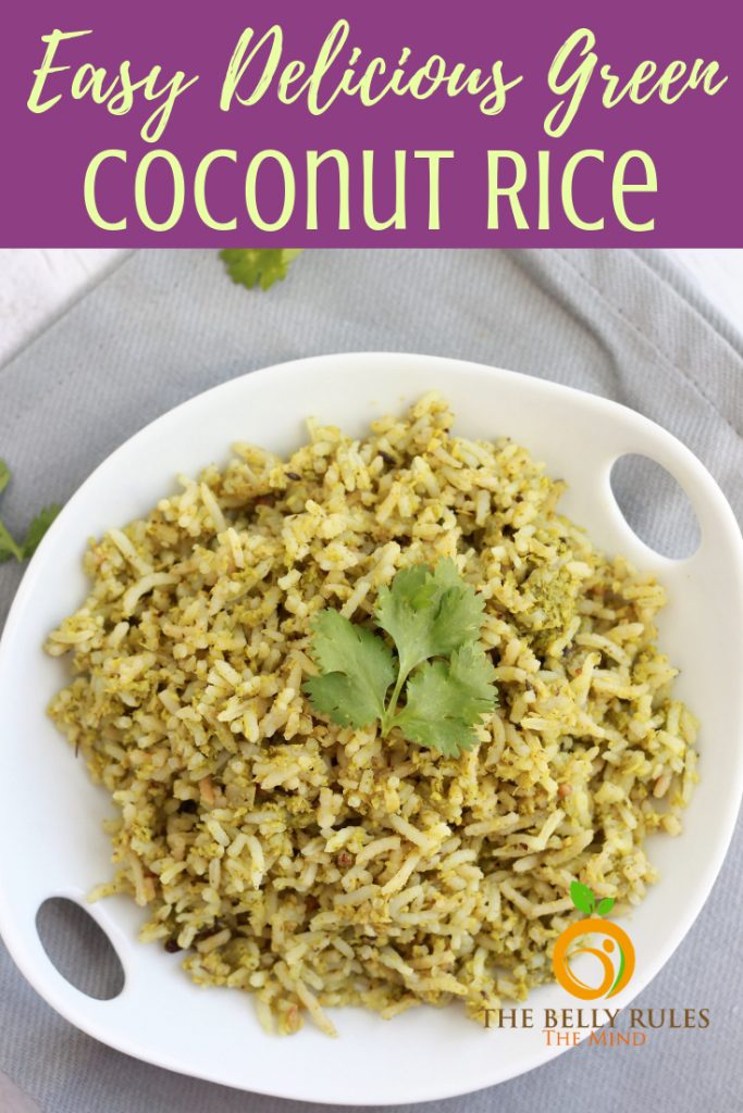 Coconut Rice with Cilantro - This vegan Coconut Rice recipe with cilantro is a one-pot recipe where you marry flavors of freshly grated coconut, garlic and cilantro. Easy side or relish it as is. Vegan. Gluten-Free. Dairy-Free. Lunchbox Option. Under 30 minutes. Make it hearty by adding some spinach or chickpeas.