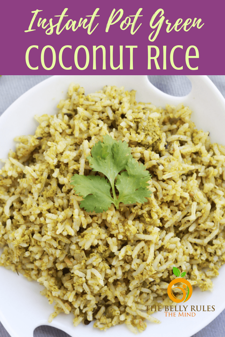 Coconut Rice with Cilantro - This vegan Coconut Rice recipe with cilantro is a one-pot recipe where you marry flavors of freshly grated coconut, garlic and cilantro. Easy side or relish it as is. Vegan. Gluten-Free. Dairy-Free. Lunchbox Option. Under 30 minutes.