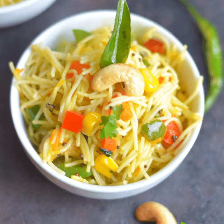 Instant Pot Vegan Vermicelli Bowl- Semiya Upma