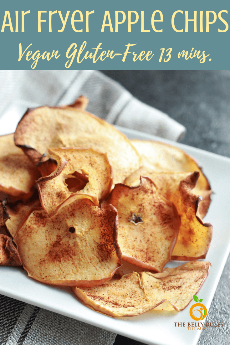 Air Fryer Apple Chips - These are crispy, delicious and super easy to make. Satisfy your sweet craving with this perfectly healthy snack that is not fried or baked but made in the Air Fryer. Vegan. Gluten-Free. Soy-Free. Dairy-Free. Oil-Free. All you need is just 8 minutes before you can devour them.