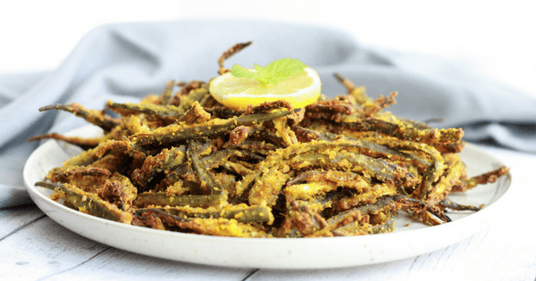 Kurkuri Bhindi / Vegan Fried Okra (Air Fried)