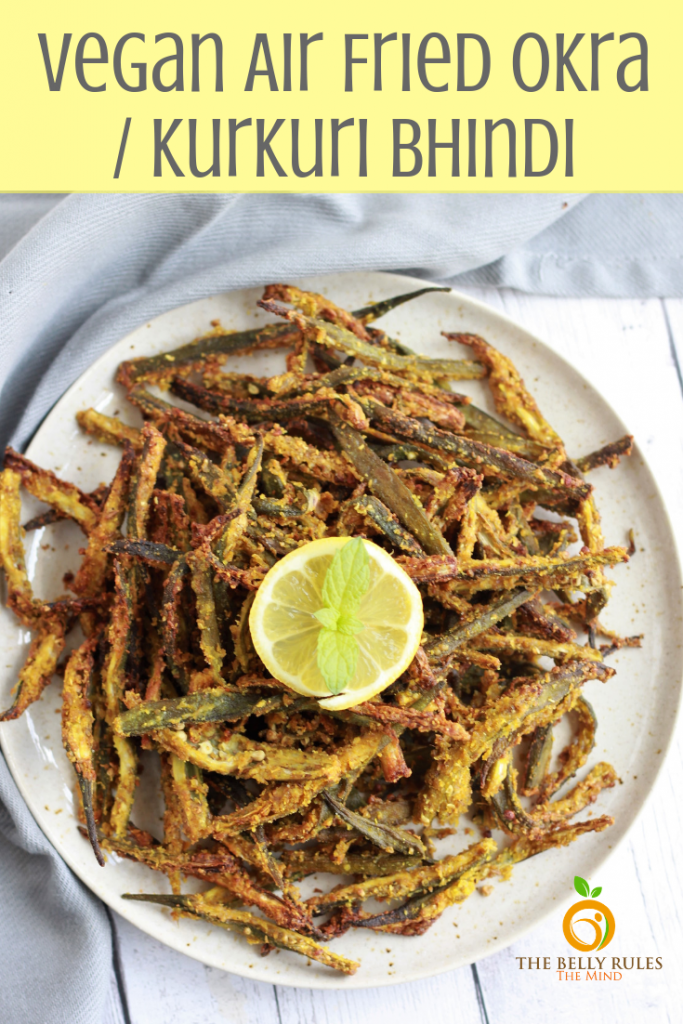Imagine enjoying crispy fried okra coated with chickpea flour and infused with Indian spices. This delicious okra is known as Kurkuri Bhindi in India. It's delicious but my problem is fried. So here is my guilt-free version of this classic Air Fried Okra coated with chickpea flour and spices. Vegan. Gluten-Free. It's the yummiest okra you have ever tried. #vegan #friedokra #okra #okrarecipe #friedokrarecipe #airfrier #kurkuribhindi #bhindi #veganrecipe #veganglutenfree #airfrier