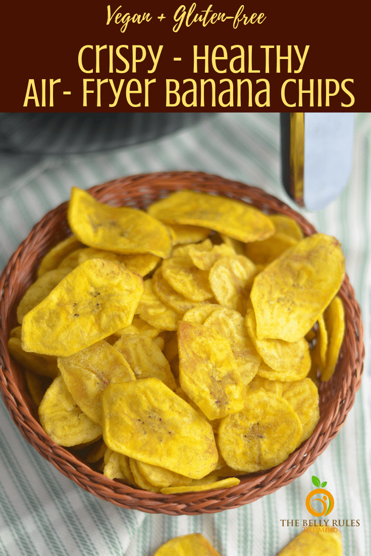 Crispy homemade Healthy Plantain chips / Healthy Banana chips made out of raw bananas are awesome in taste and way better than store bought. Cooked in coconut oil for an all natural treat and Air- fried for a healthier experience. Enjoy these crispy and crunchy banana chips as a snack right out of the bag. It's an inexpensive and gluten-free snack!