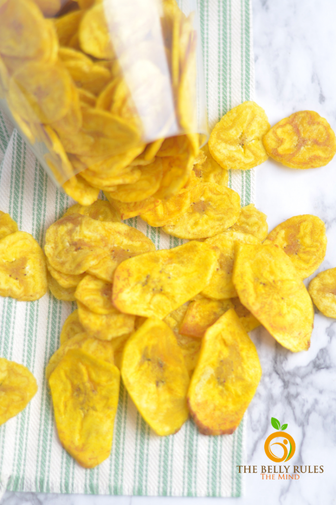 Healthy Plantain chips - Banana chips made out of yellow bananas are cooked in coconut oil for an all natural treat. They are Air- fried for a healthier experience.
