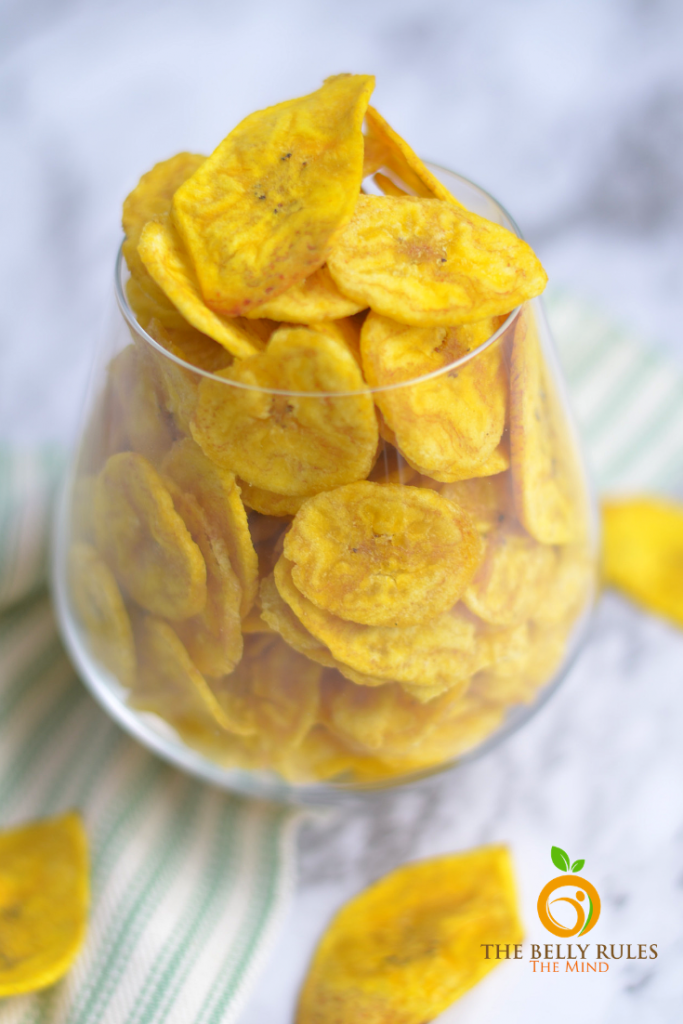 Healthy Plantain chips - Banana chips made out of yellow bananas are cooked in coconut oil for an all natural treat. They are Air- fried for a healthier experience