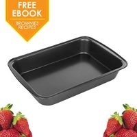 """13 x 9"""" Rectangular Baking Pans Quick Release Bakeware Tray Brownie Loaf Pan with Nonstick Coating Round Edges Heatproof Stainless Steel for Beginners Professionals - eBook Included"""