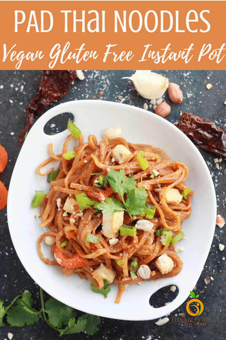 Instant Pot Vegan Pad Thai Noodles in just 20 minutes. Yes please!!! Noodles, sweet and sour Pad Thai Sauce, some veggies and tofu is all you need to whip up your next weeknight meal. Save this one because it's yum. Gluten-Free. #instantpot #instantpotrecipe #veganrecipe #veganglutenfree #vegan #vegetarian #padthai #veganpadthai #vegetarian #instantporveganrecipe #venganinstantpot #thairecipe #thaifood #meal