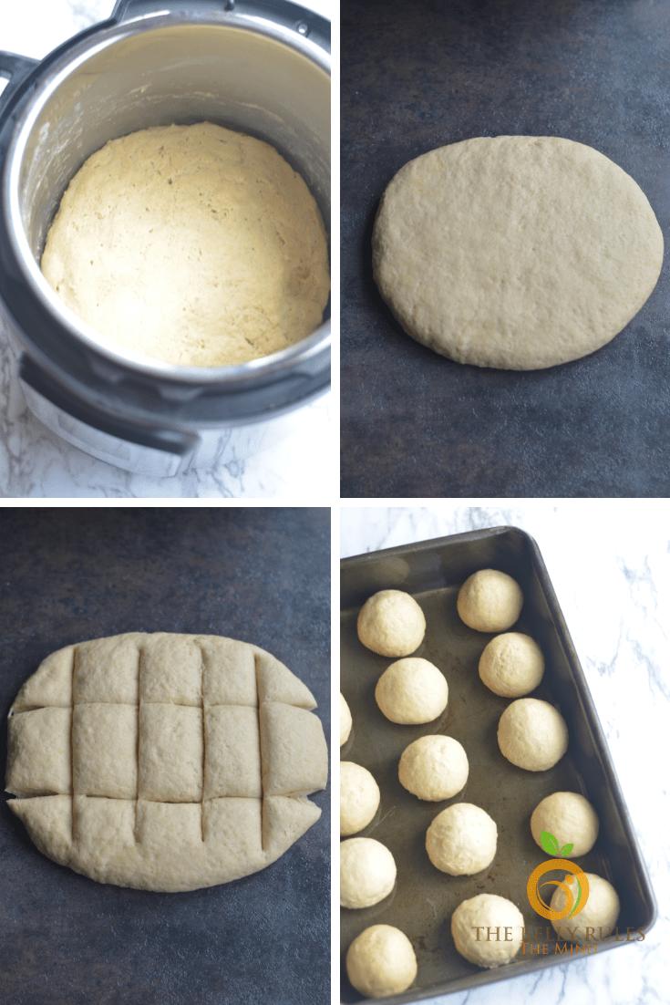 No Knead Homemade Whole Wheat Dinner Rolls - Ladi Pav