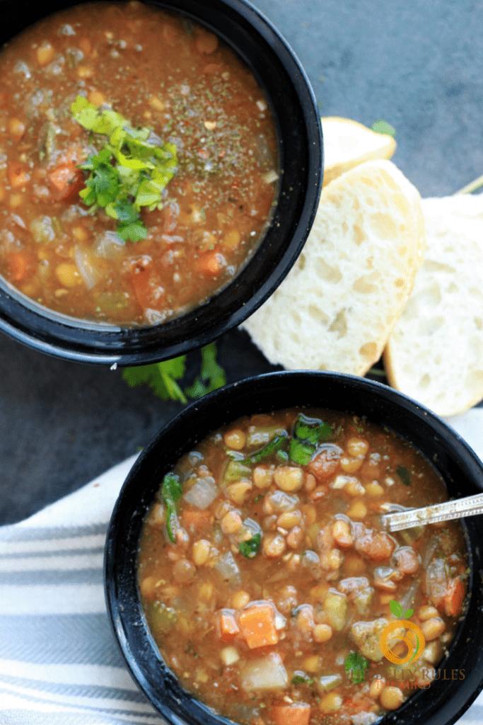Lentil Soup bowls