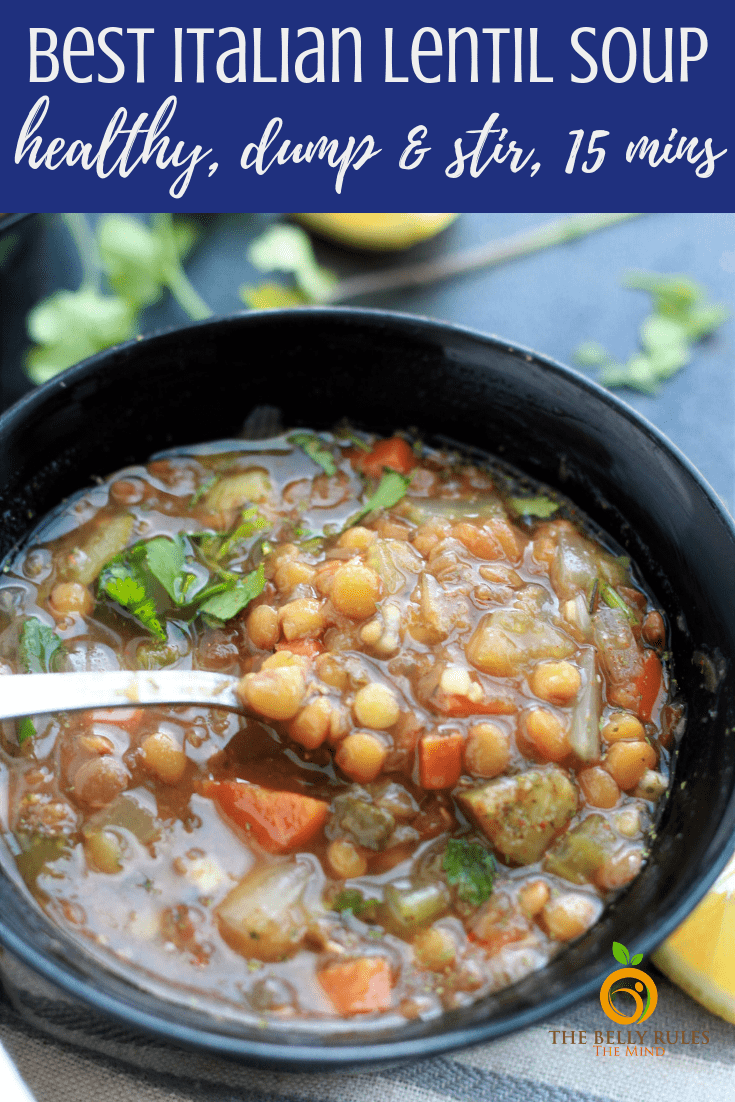 This Italian Lentil Soup is your everyday Lentil Soup. A hearty nutritious bowl of plant based powerhouse made with lots of veggies, lentils, herbs and seasonings. Super easy to make & ready in 15 minutes. Vegan, Gluten-Free, Oil-Free. Meal-Prep and Freezer Meal Option. Instant Pot and Stove top recipe included.  #instantpotlentilsoup #instantpotitalianlentilsoup #italianlentilsoup #lentilsouprecipe #easylentilsoup #bestlentilsoup #instantpotrecipe #veganinstantpot #lentilsouprecipe #instantpotitalianlentilsoup #italianlentilsouprecipe #bestitalianlentilsoup #vegetarianinstantpot #veganglutenfreeinstantpot #recipe #soup #italian #freezermeal #makeahead
