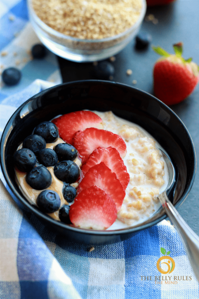 berries decorated on steel cut oats
