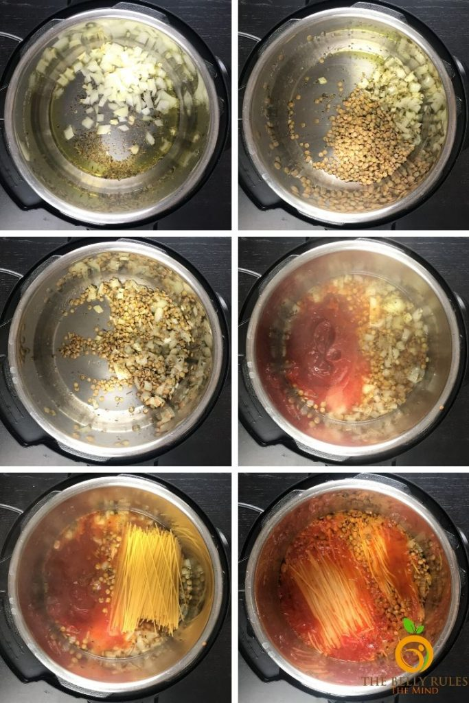 step by step instructions to make instant pot lentil spaghetti