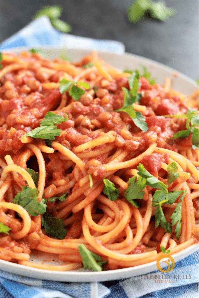 Lentil Spaghetti in a plate